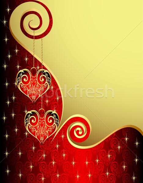 background with heart from gild and spiral Stock photo © yurkina