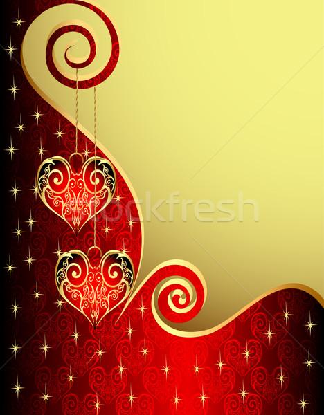 Serca spirali ilustracja ślub miłości liści Zdjęcia stock © yurkina