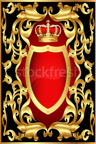 background with shield gold pattern and corona Stock photo © yurkina