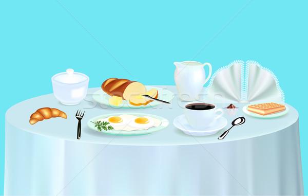 Ontbijt roereieren koffie croissant illustratie voedsel Stockfoto © yurkina