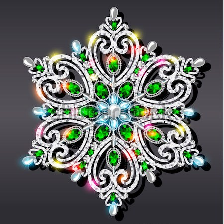 background with snowflakes made of precious stones Stock photo © yurkina
