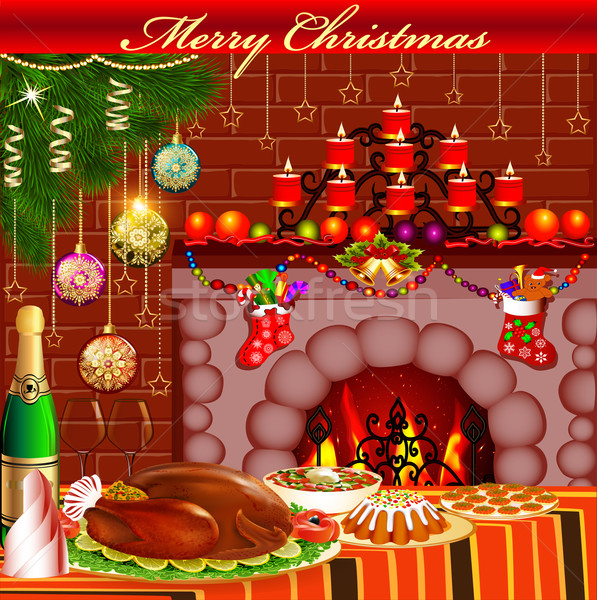 Christmas card with fireplace chicken and pudding Stock photo © yurkina