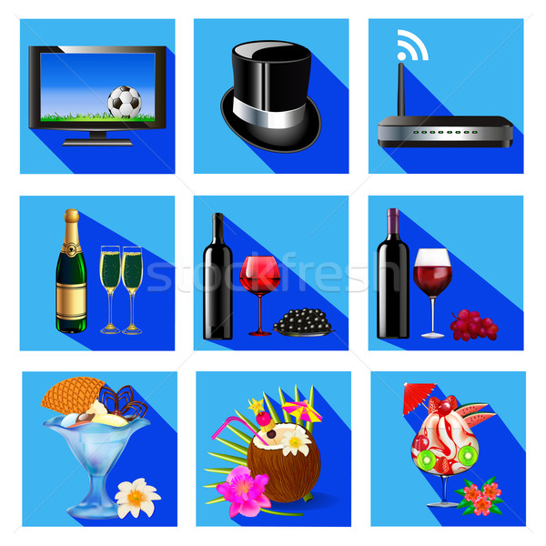 illustration of icons for service cafe and restaurant wine cocktail,dessert, TV, Wi Fi Stock photo © yurkina
