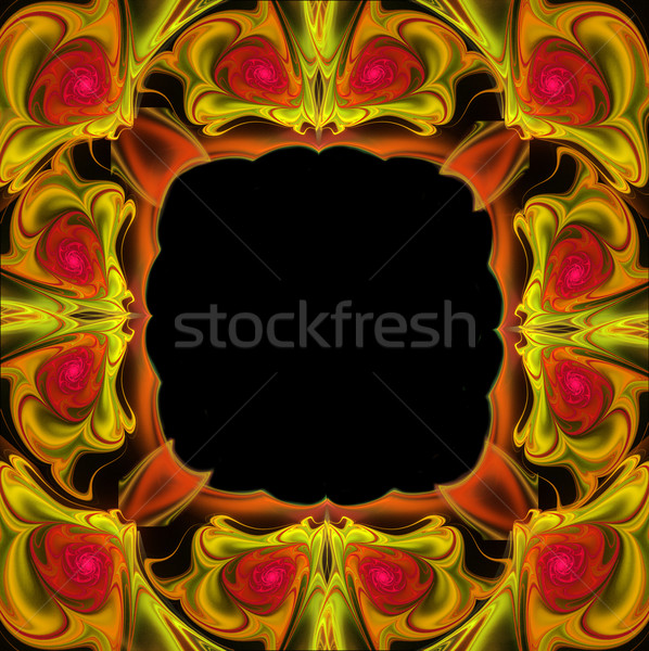 fractal illustration background frame with roses and leaves Stock photo © yurkina