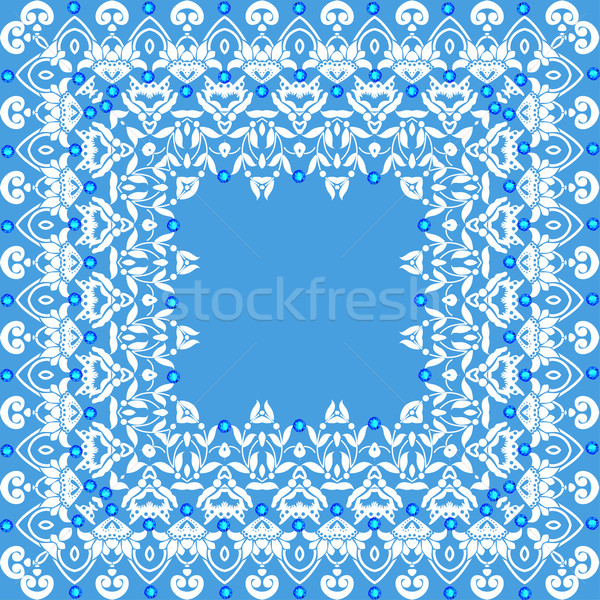 Illustration background frame with vintage lace and jewels Stock photo © yurkina