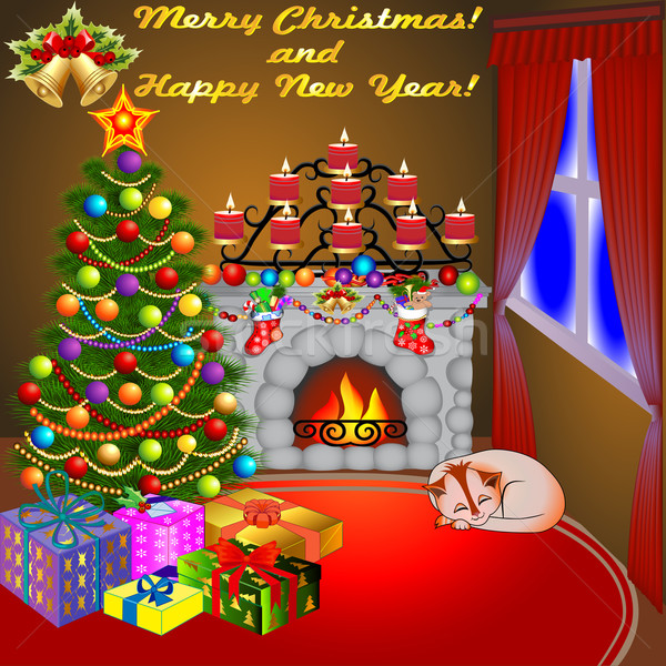 Foto stock: Natal · lareira · árvore · presentes · velas · gato
