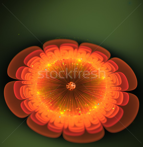 Illustration fractal fantastique lumineuses orange fleur Photo stock © yurkina