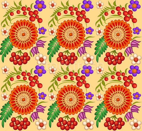 Illustratie geschilderd bloemen bessen ontwerp blad Stockfoto © yurkina