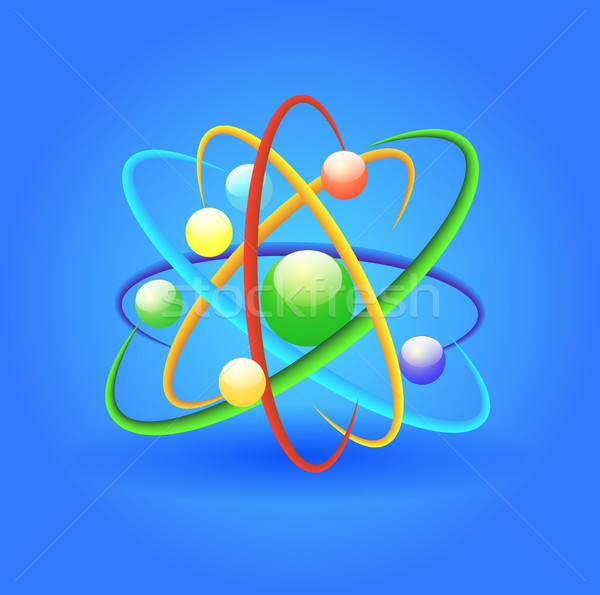 illustration background with bright shiny atom on a blue Stock photo © yurkina
