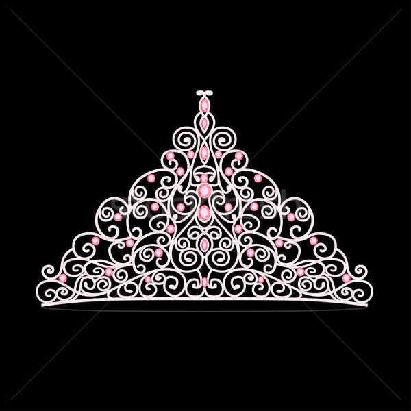 women's tiara crown wedding with pink stones Stock photo © yurkina