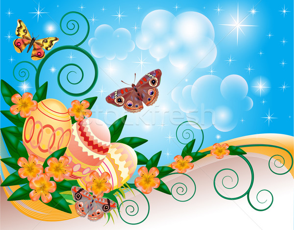 background with butterflies and flowers eggs Stock photo © yurkina