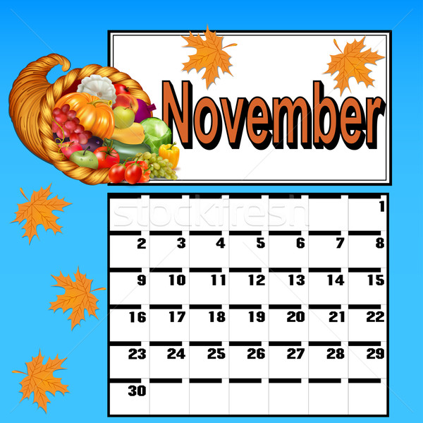calendar for November, with Thanksgiving and cornucopia Stock photo © yurkina