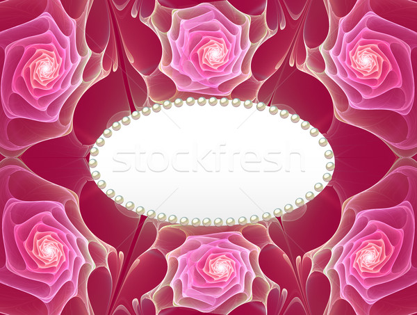 fractal illustration background frame with roses and pearls Stock photo © yurkina