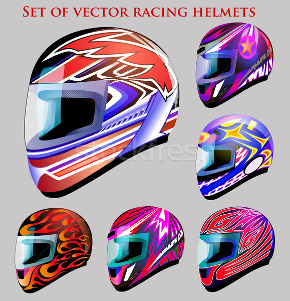 Illustration set of beautiful vector racing helmets with differe Stock photo © yurkina