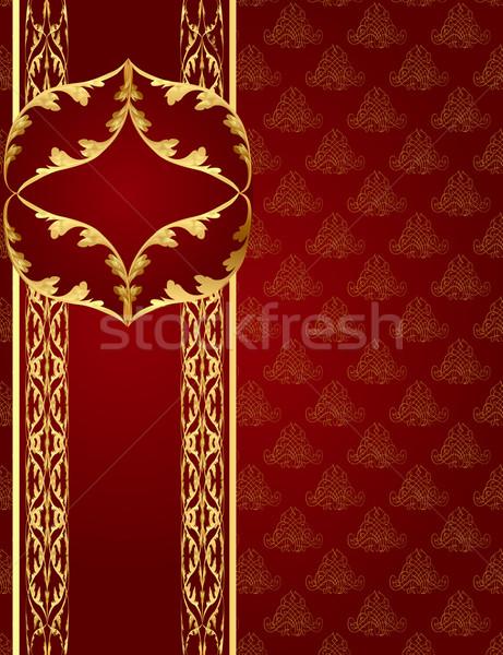 Sem costura marrom banda quadro dourado ilustração Foto stock © yurkina