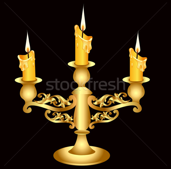 candlestick gold(en) with three burning candle Stock photo © yurkina
