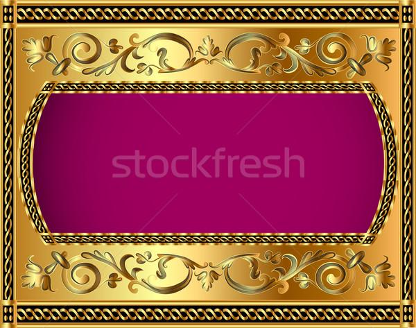 иллюстрация кадр золото растительное шаблон искусства Сток-фото © yurkina