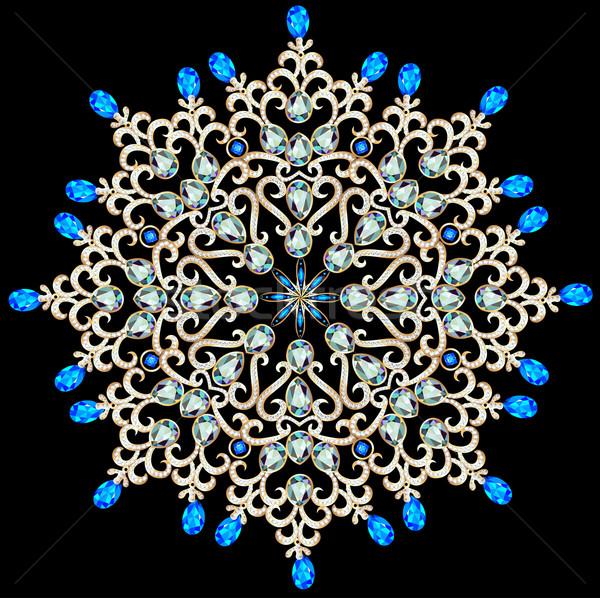 иллюстрация золото шаблон ювелирные изделия драгоценный камней Сток-фото © yurkina