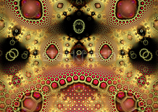 illustration of a fractal background with a gold geometric patte Stock photo © yurkina