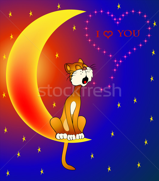 cat sings sitting on moon about love for day Valentina Stock photo © yurkina