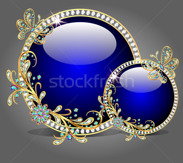 of two glass bowl with butterflies made ​​of precious stone Stock photo © yurkina