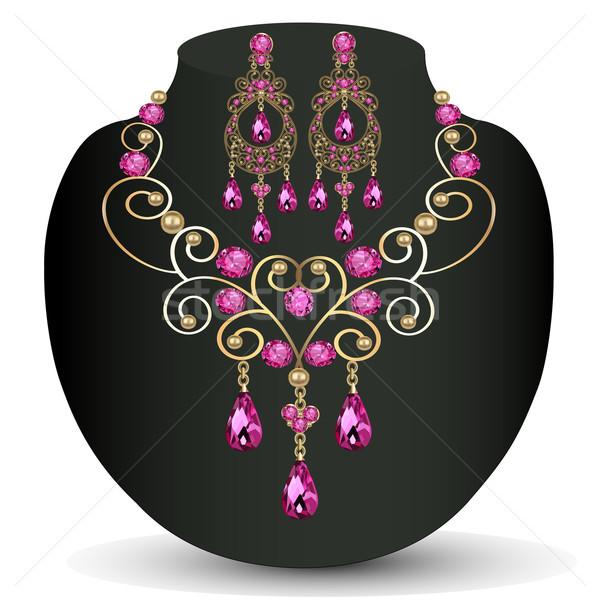 Ketting roze juwelen oorbellen illustratie bruiloft Stockfoto © yurkina