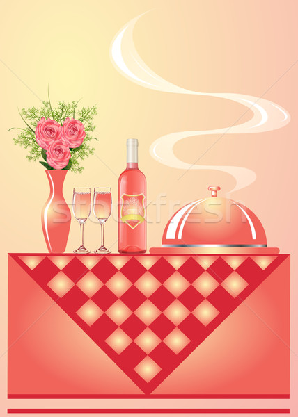illustration vase with flower wine with goblet and tray for hot Stock photo © yurkina