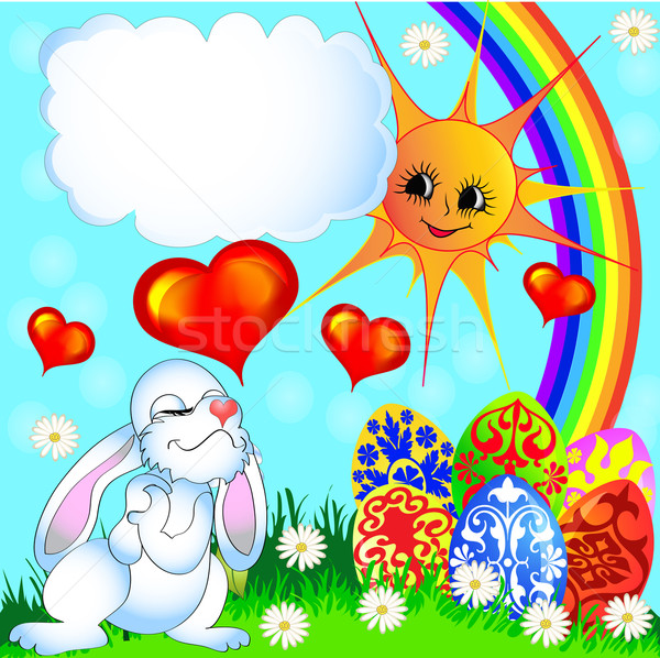 Easter egg zabawny królik tęczy ilustracja streszczenie Zdjęcia stock © yurkina