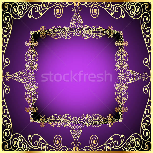 purple background with gold ornament and precious stones Stock photo © yurkina