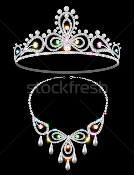 Błyszczący tiara naszyjnik ilustracja ślub piękna Zdjęcia stock © yurkina