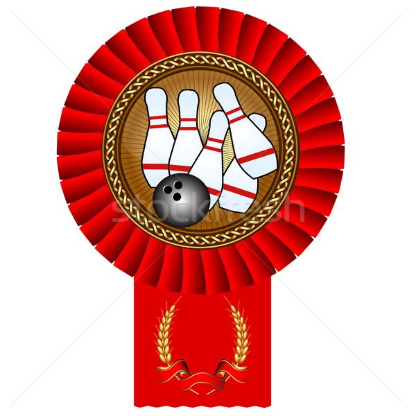 Bowling bal gouden medaille bureaucratie illustratie computer Stockfoto © yurkina