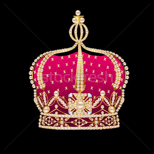 royal gold corona on black background Stock photo © yurkina
