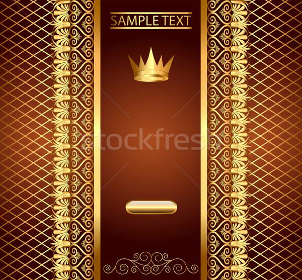 Bruin uitnodiging goud patroon kroon illustratie Stockfoto © yurkina