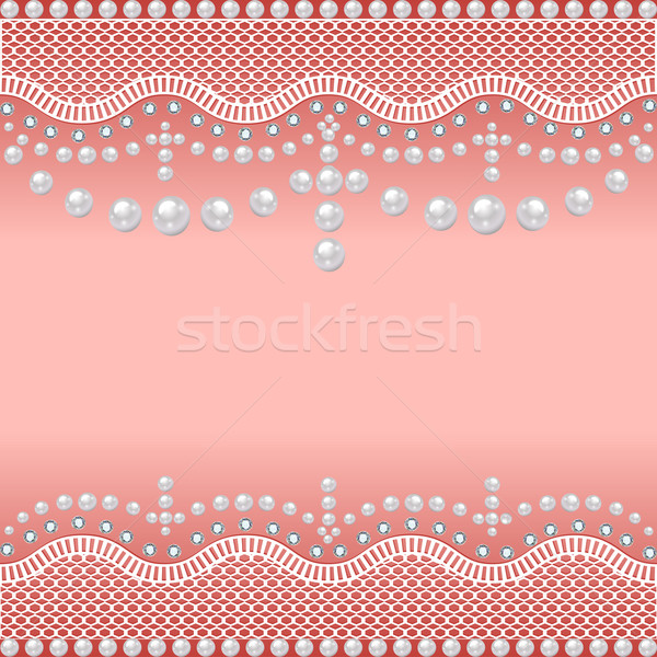 background with a grid of pearls and precious stones Stock photo © yurkina