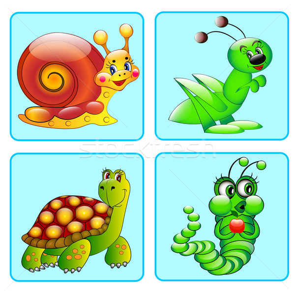 set of icons with a grasshopper, caterpillar, turtle, snail Stock photo © yurkina