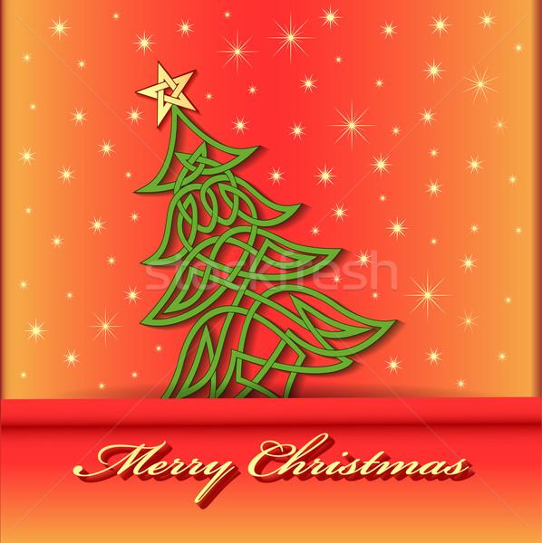 árbol de navidad Celtic patrón ilustración trabajo Foto stock © yurkina