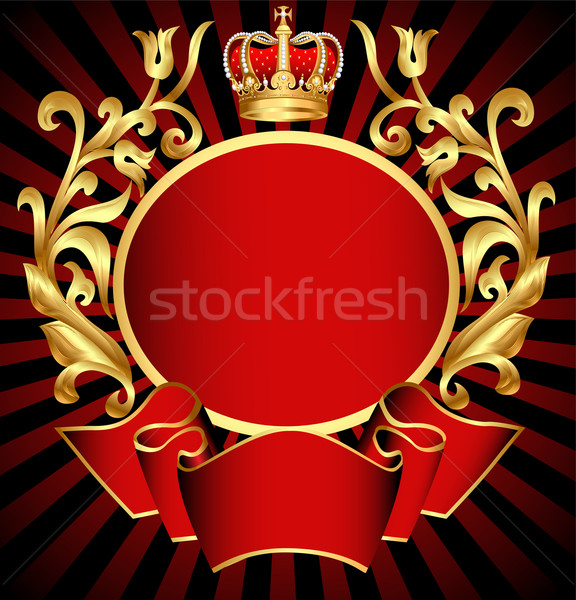 noble background with gold(en) pattern and crown Stock photo © yurkina