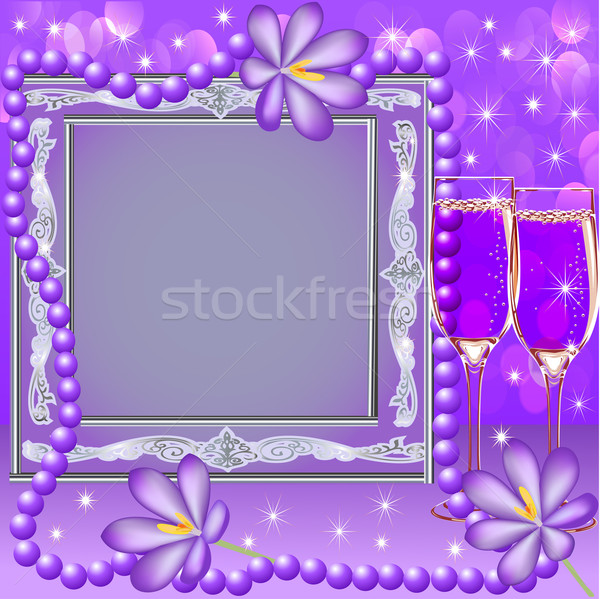 frame with a glass flower and beads Stock photo © yurkina
