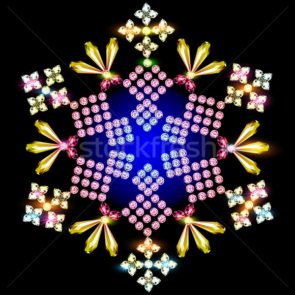 shiny snowflake background of precious stones Stock photo © yurkina