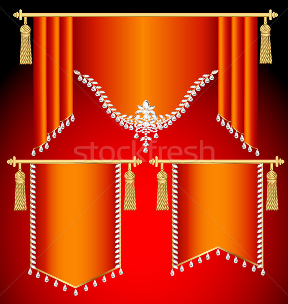 set of red curtains with precious stones and gold tassels Stock photo © yurkina
