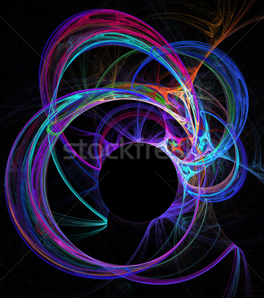illustration background fractal abstraction neon circles and cop Stock photo © yurkina