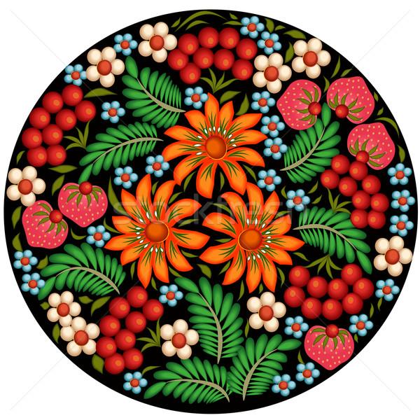 Ilustración pintado flores bayas círculo diseno Foto stock © yurkina
