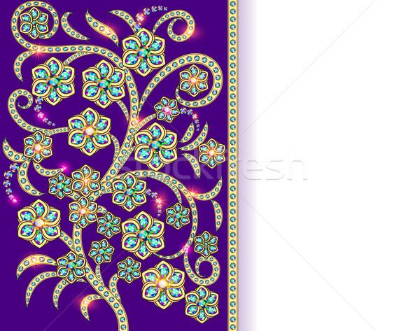 Floral adornos precioso piedras ilustración oro Foto stock © yurkina