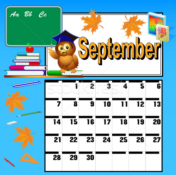 calendar for September and school books owl and apple Stock photo © yurkina