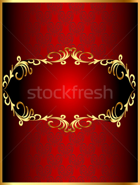 frame background with gold(en) winding pattern and heart Stock photo © yurkina