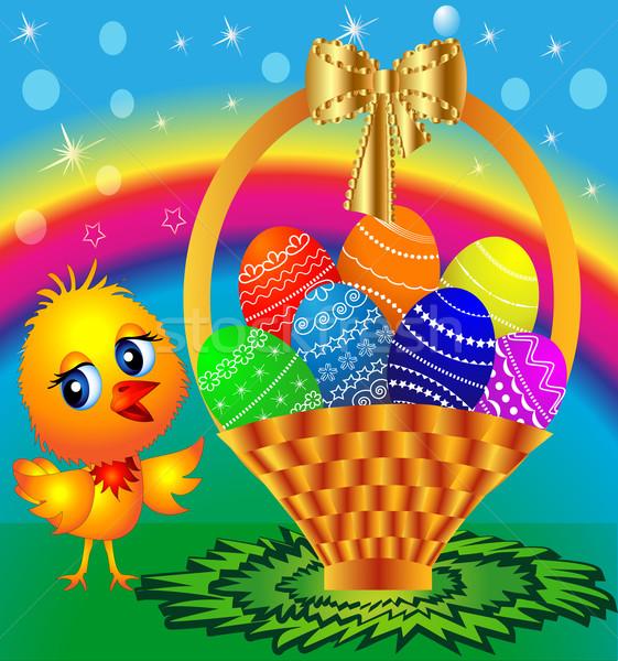 ünnepi kosár színes tojás tyúk illusztráció húsvét Stock fotó © yurkina