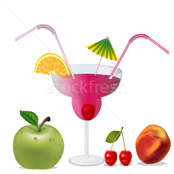 cocktail with cherry by peach and apple Stock photo © yurkina