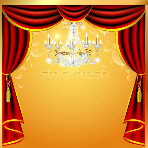 illustration background with curtains and a chandelier with spac Stock photo © yurkina