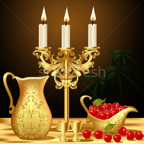 still life with gold(en) dishes candle and wine Stock photo © yurkina