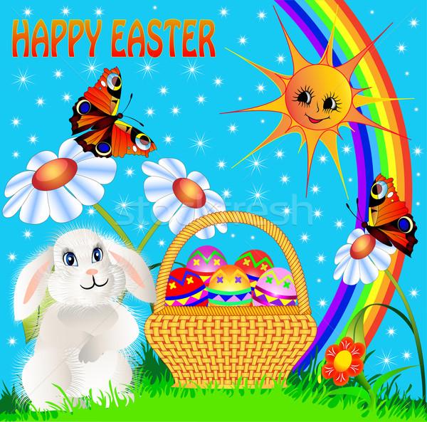 Húsvéti tojás szórakoztató nyúl szivárvány illusztráció absztrakt Stock fotó © yurkina
